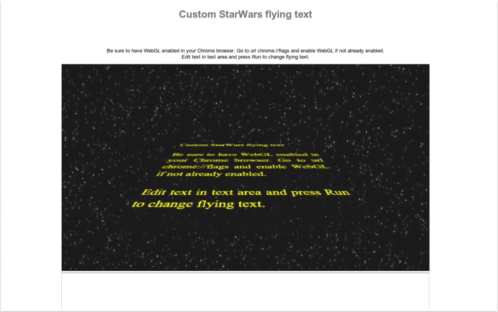 custom starwars flying text