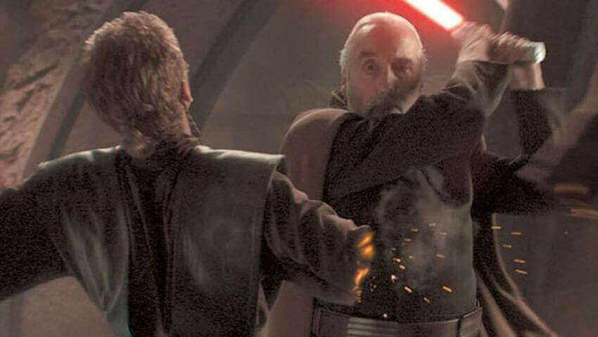 ドゥークーに腕を斬られるアナキン