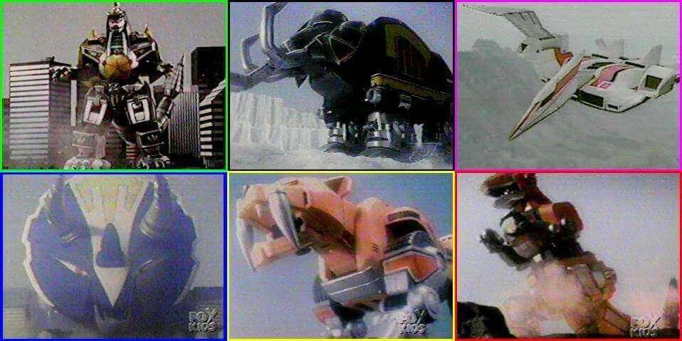 テレビシリーズ『マイティ・モーフィン・パワーレンジャー』のゾード(左上は今回登場したゾードとは別)。 http://neoencyclopedia.wikia.com/wiki/Zords_in_Mighty_Morphin_Power_Rangers