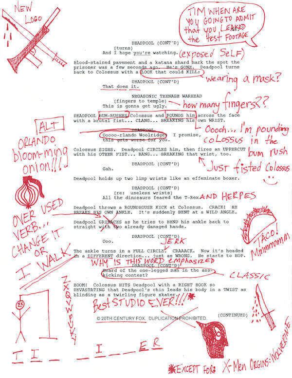 http://nerdapproved.com/movies/deadpool-script-notes/