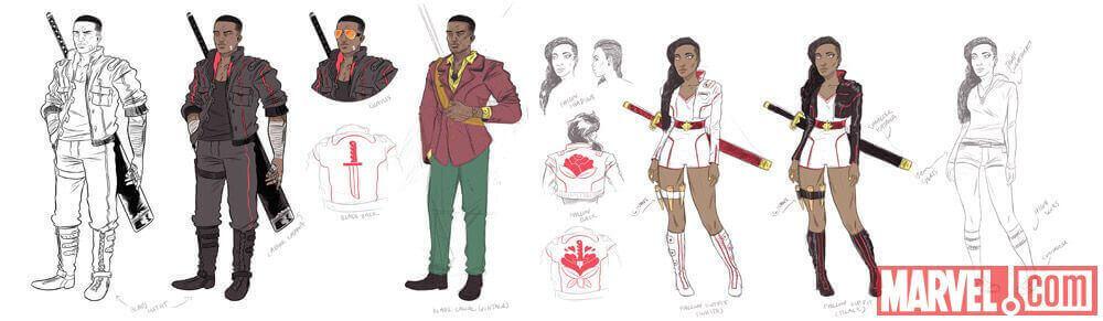 第一報時のデザイン・アート。左がブレイド、右がその娘か。 http://marvel.com/news/comics/24872/sdcc_2015_blade