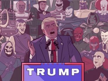 ヴィランたちがトランプの演説会に?西洋と東洋が入り混じったオリエンタルなアメコミ風刺画が話題に