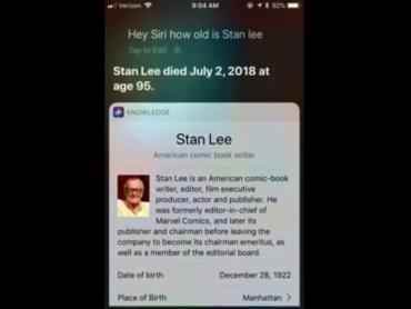 AIアシスタント「Siri」がスタン・リー死去の誤報を流してしまう事案が発生