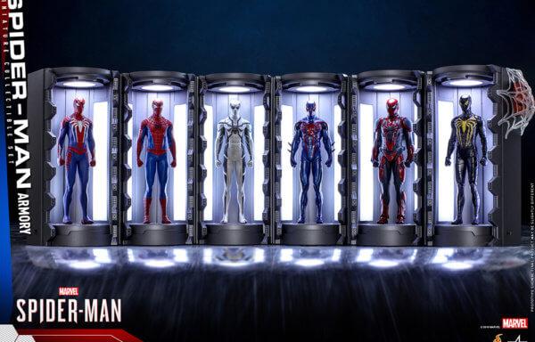 【ビデオゲーム・マスターピース COMPACT】 『Marvel's Spider-Man』ミニチュア・フィギュア シリーズ1  スパイダースーツ格納庫 (6体セット)[ボーナスアクセサリー付き]
