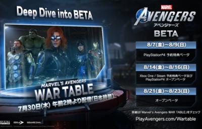 『Marvel's Avengers(アベンジャーズ)』ベータ版スケジュール 2020年8月7日(金)〜8月9日(日) PlayStation4予約特典ベータ 2020年8月14日(金)〜8月16日(日) Xbox One / Steam予約特典ベータ及びPlayStion4オープンベータ 2020年8月21日(金)〜8月23日(日) オープンベータ