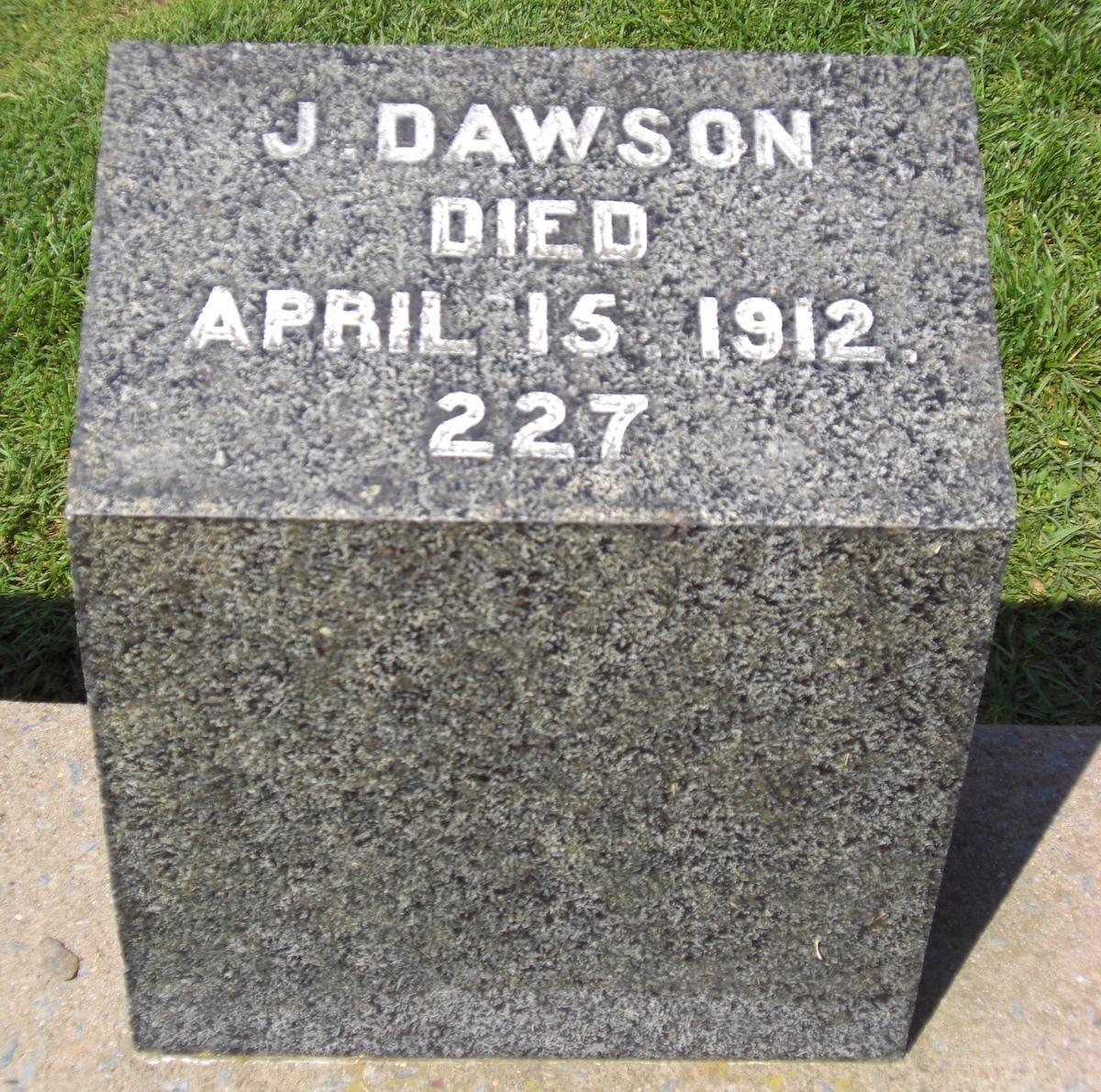 Joseph Dawson Titanic Gravestone
